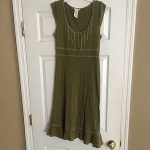 ROXY Olive 100% Cotton Dress Size Medium